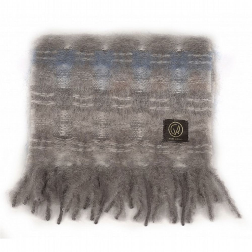 Mohair Scarf - Sable / Powder Blue Check